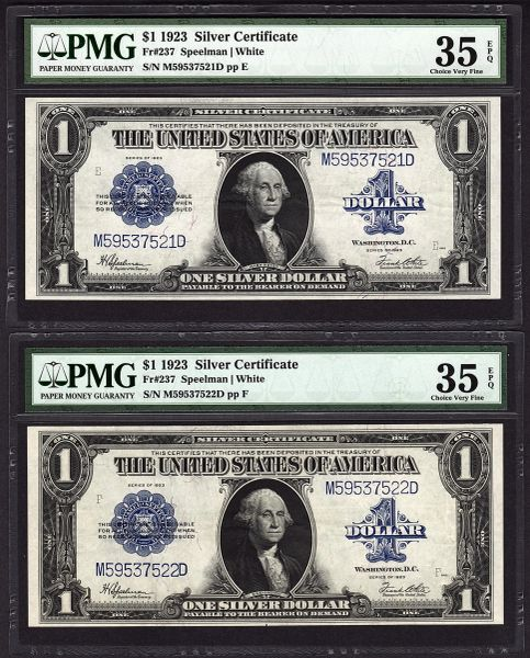 Lot of Two Consecutive 1923 $1 Silver Certificate Notes PMG 35 EPQ Fr.237 Item #1743714-001/002
