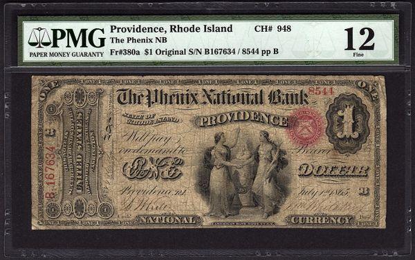 Original Series $1 Providence Rhode Island PMG 12 Fr.380a The Phenix National Bank RI Ch#948 Item #5004610-002