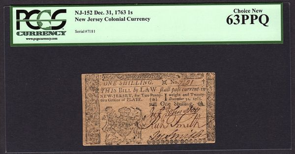 1763 New Jersey Colonial Note PCGS 63 PPQ NJ-152 1s One Shilling Item #80504664