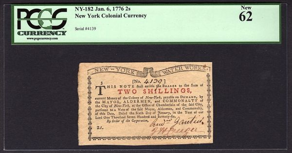 1776 2s New York Water Works Colonial Note PCGS 62 NY-182 Two Shillings Item #80617759