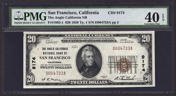 1929 $20 Anglo California National Bank of San Francisco PMG 40 EPQ Fr.1802-1 Charter CH#9174 Item #8013613-007