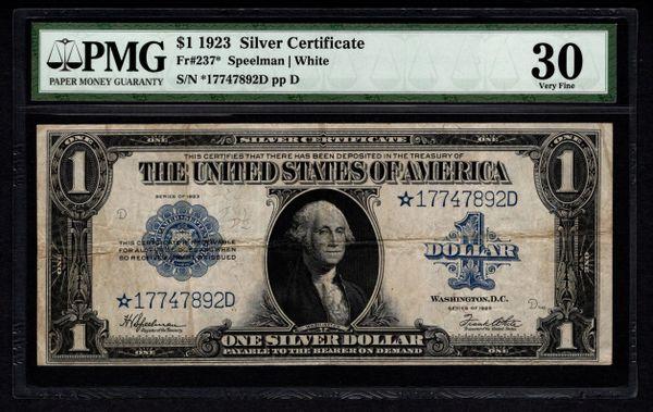 1923 $1 Star Silver Certificate PMG 30 Fr.237* Item #5004642-004