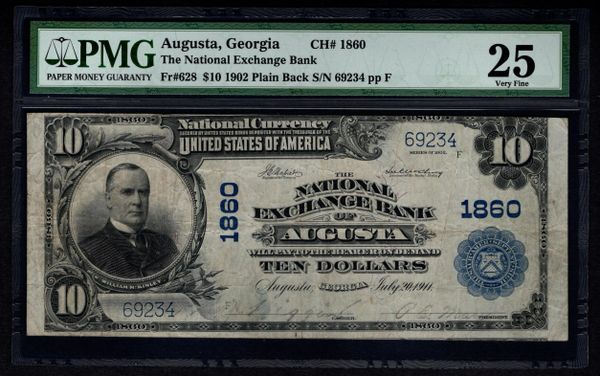 1902 $10 National Exchange Bank of Augusta Georgia PMG 25 Fr.628 Charter CH#1860 Item #1526628-013