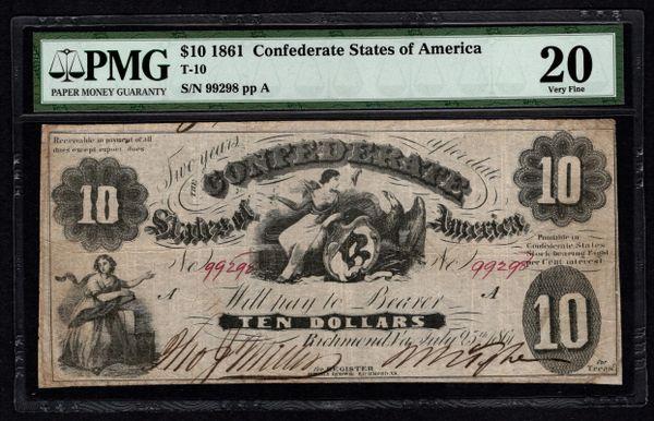 1861 $10 T-10 Confederate Currency PMG 20 VF Civil War Note Item #1721290-001