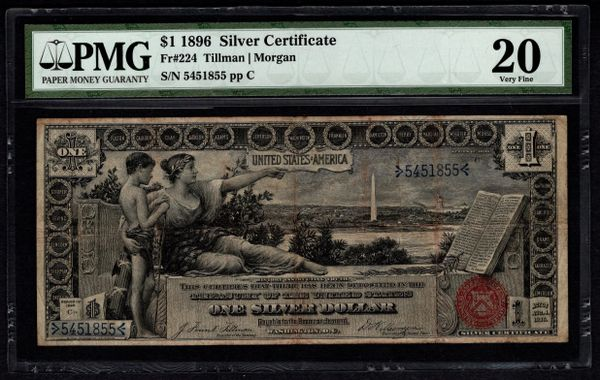 1896 $1 Silver Certificate Educational Note PMG 20 Fr.224 Item #5004642-001