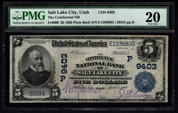 1902 $5 Salt Lake City Utah Continental NB National Bank PMG 20 Fr.600 Charter Ch#9403 Item #5004588-017