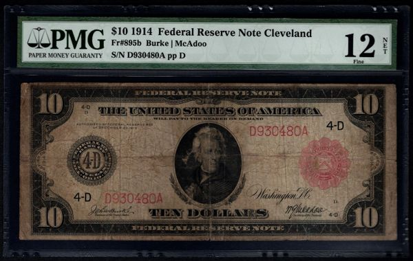1914 $10 Cleveland FRN PMG 12 NET Fr.895b Red Seal Item #1527772-018
