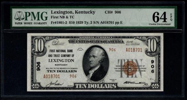 1929 $10 Lexington KY Kentucky First NB & TC PMG 64 EPQ Charter CH#906 Fr.1801-2 Item #1078233-014