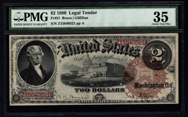 1880 $2 Legal Tender PMG 35 Fr.51 United States Note Item #5004652-003