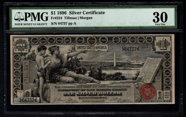 1896 $1 Silver Certificate Educational Note PMG 30 Fr.224 Item #5012593-005