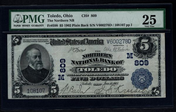 1902 $5 Northern National Bank of Toledo Ohio PMG 25 Fr.598 Charter Ch#809 Item #1005968-007