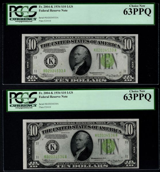 Lot of Two Consecutive 1934 Ten 10 Dollar Dallas Federal Reserve Notes LGS Light Green Seal PCGS 63 PPQ Fr.2004-K Item #80178688/89