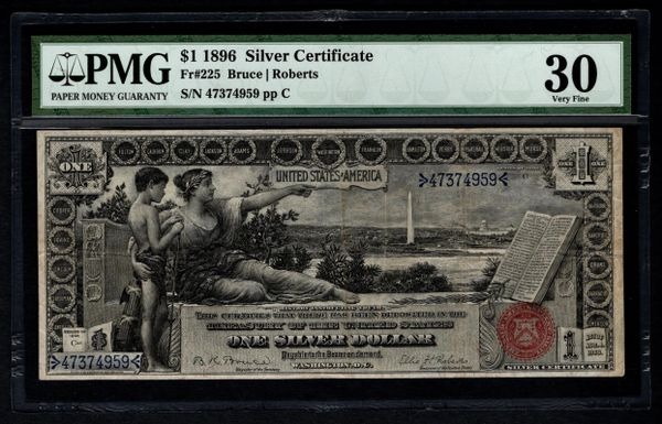 1896 $1 Silver Certificate Educational Note PMG 30 Fr.225 Item #5012654-006
