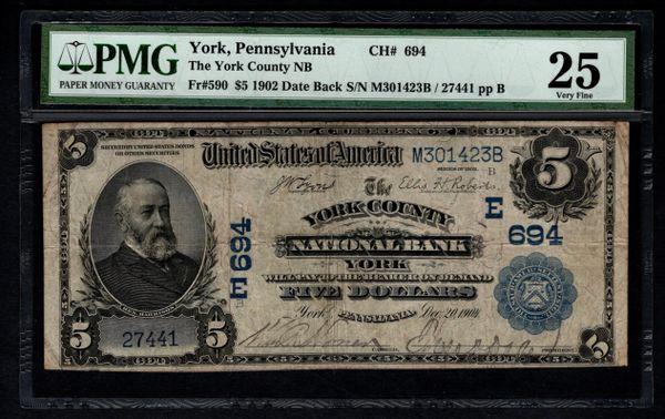 1902 $5 York County National Bank PA Pennsylvania PMG 25 Charter CH#694 Item #8050550-021