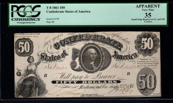 1861 $50 T-8 Confederate Currency PCGS 35 APPARENT Civil War Note Item #80312476