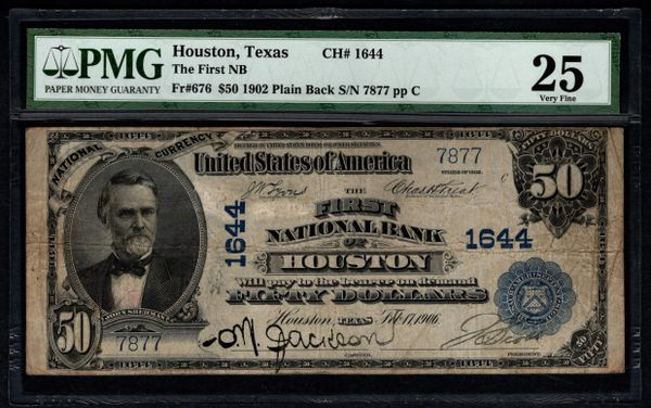 1902 $50 The First National Bank Houston Texas PMG 25 Fr.676 Charter CH#1644 Item #2507568-001