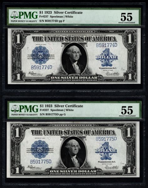 Lot of Two Consecutive 1923 $1 Silver Certificate Notes PMG 55 Fr.237 Item #8053465-003/004