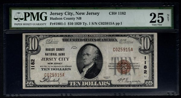 1929 $10 Hudson County Jersey City NJ New Jersey PMG 25 NET Fr.1801-1 Charter CH#1182 Item #1515750-001