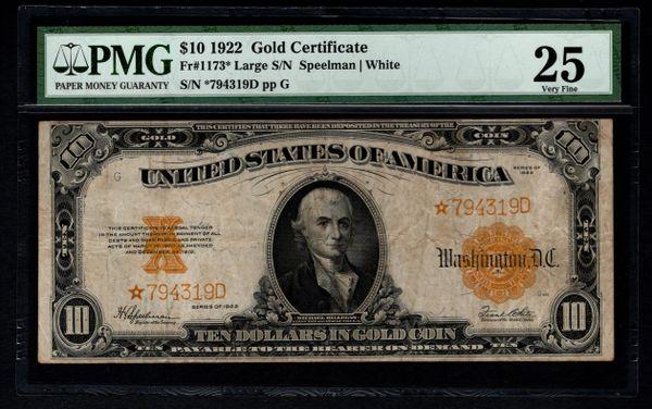 1922 $10 Star Gold Certificate PMG 25 Fr.1173* Item #2508025-018