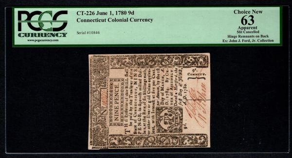 1780 Connecticut Colonial Note PCGS 63 APPARENT CT-226 9d Nine Pence Item #80535487