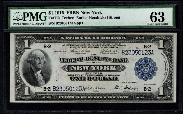1918 $1 New York FRBN PMG 63 Fr.712 Item #2508025-013