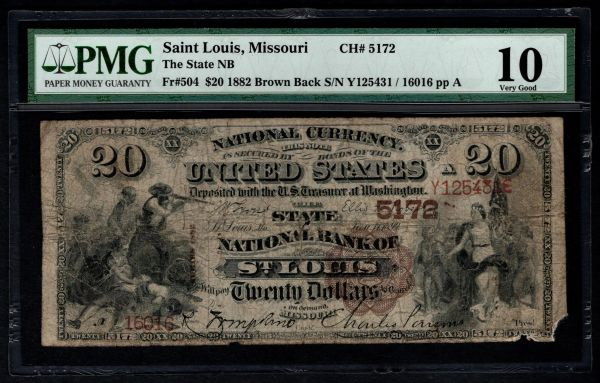 1882 $20 State National Bank of St. Louis Missouri PMG 10 Fr.504 Charter CH#5172 Item #8050587-080