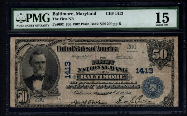 1902 $50 First National Bank Baltimore Maryland MD PMG 15 Fr.682 Charter CH#1413 Item #5009568-002