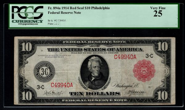 1914 $10 Philadelphia FRN PCGS 25 Fr.894a Red Seal Item #80653520