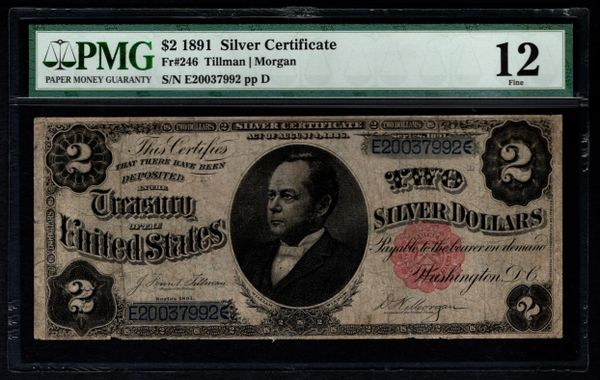 1891 $2 Silver Certificate Windom Note PMG 12 Fr.246 Item #5012657-020