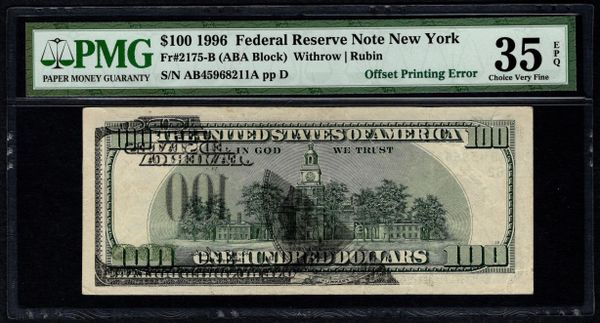 1996 $100 ERROR Front To Back Offset Printing PMG 35 EPQ Fr.2175-B Item #5012717-010