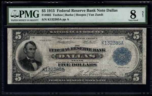 1915 $5 Dallas FRBN PMG 8 NET Fr.805 Item #5004120-017