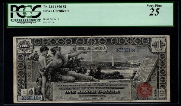 1896 $1 Silver Certificate Educational Note PCGS 25 Fr.224 Item #80023928