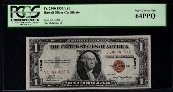 1935A $1 Hawaii Silver Certificate PCGS 64 PPQ Fr.2300 Item #80091468