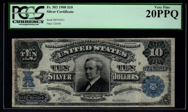 1908 $10 Silver Certificate Tombstone Note PCGS 20 PPQ Fr.303 Item #80809323
