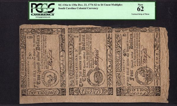 1776 South Carolina SC Colonial Uncut Sheet Strip of 3 PCGS 62 New SC-136a to SC-138a $2 to $4 Item #80627753