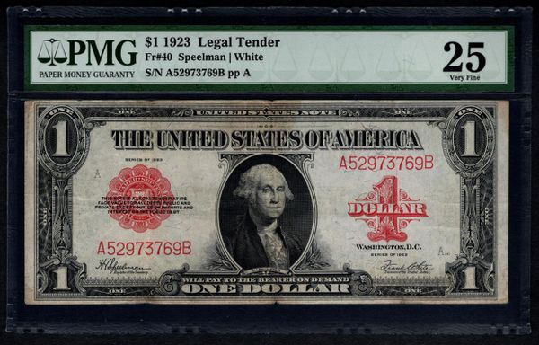 1923 $1 Legal Tender Red Seal PMG 25 VF Fr.40 United States Note #1046017-025