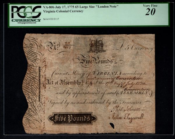 1775 Virginia Colonial Currency PCGS 20 Fr.VA-80b Five 5 Pounds Large Size Note Item #80611300