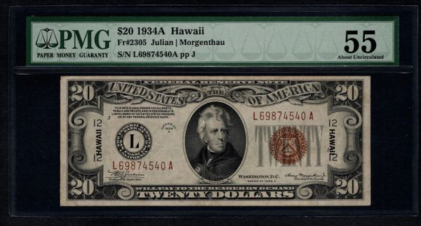 1934A $20 Hawaii FRN Federal Reserve Note PMG 55 Fr.2305 Item #1024309-003