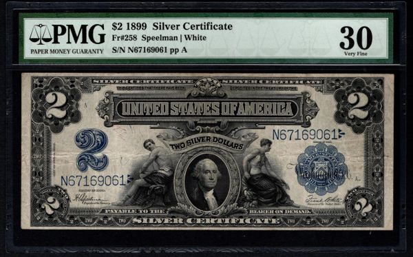 1899 $2 Silver Certificate PMG 30 Fr.258 Mini Porthole Note Item #5012834-036