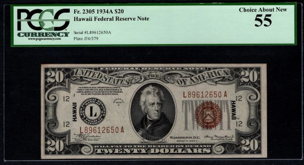 1934A $20 Hawaii Federal Reserve Note FRN PCGS 55 Fr.2305 Item #80607366