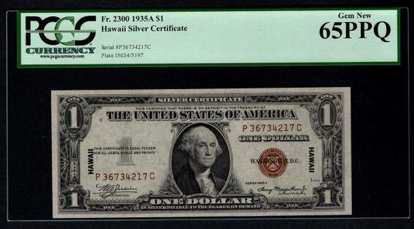 1935A $1 Hawaii Silver Certificate PCGS 65 PPQ Fr.2300 Item #80817156