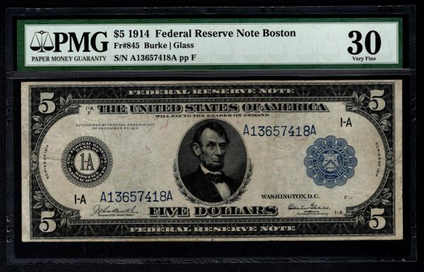 1914 $5 Boston FRN PMG 30 Fr.845 Federal Reserve Note Item #2508106-011
