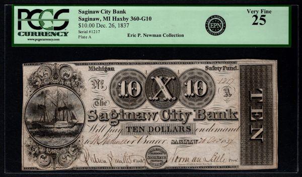 1837 $10 Saginaw City Bank Michigan PCGS 25 EPN Eric P. Newman Collection Item #80593565