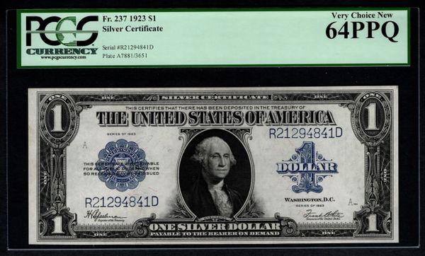 1923 $1 Silver Certificate PCGS 64 PPQ Fr.237 Item #80821435