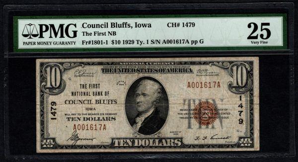 1929 $10 First National Bank Council Bluffs Iowa PMG 25 Fr.1801-1 Charter CH#1479 Item #1608022-035