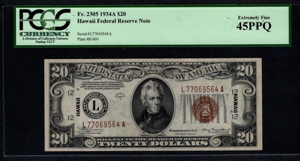 1934A $20 Hawaii FRN Federal Reserve Note PCGS 45 PPQ Fr.2305 Item #80226174