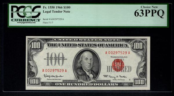 1966 $100 Legal Tender PCGS 63 PPQ Fr.1550 United States Note Item #80817872