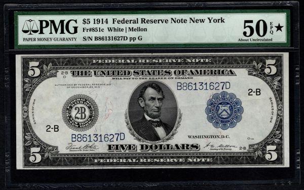 1914 $5 New York FRN PMG 50 EPQ Fr.851c Item #5012833-058
