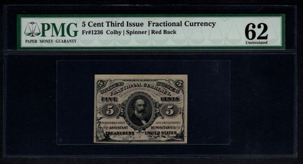Third 3rd Issue 5c Cents PMG 62 Fr.1236 Fractional Currency Item #1156160-002