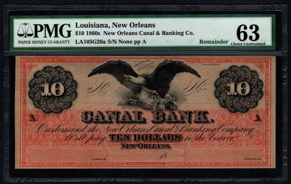 1860's $10 Canal Bank New Orleans Louisiana PMG 63 Obsolete Note with Eagle Item #1723383-027